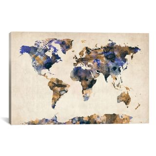 iCanvas Michael Thompsett Urban Watercolor World Map V Canvas Art