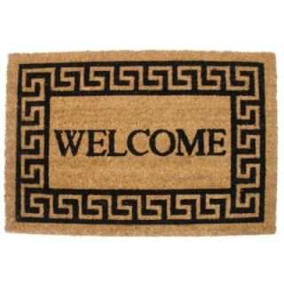 J & M Home Fashions Greek Key Welcome 19.5 in. x 29.5 in. Vinyl Back Coco Door Mat 4191