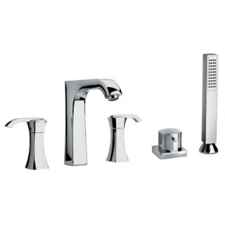 J11 Bath Series Two Lever Handle Roman Tub Faucet and Hand Shower with