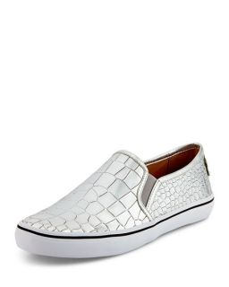 kate spade new york serena croc print metallic slip on, silver
