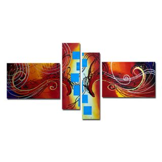 Design Art Modern Abstract 4 Piece Original Painting on Canvas Set in