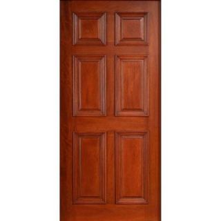 30 in. x 80 in. Solid Mahogany Type Prefinished Cherry 6 Panel Front Door Slab SH 600 CH 30in