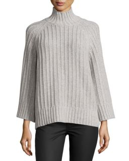 Michael Kors Collection Ribbed Shaker Knit Sweater, Heather Gray