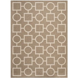 Safavieh Indoor/ Outdoor Courtyard Squares and Circles Brown/ Bone Rug