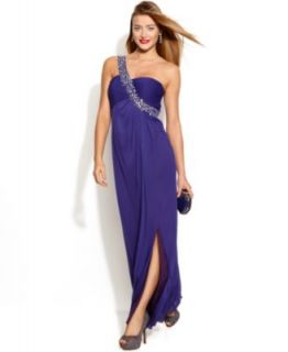 Betsy & Adam One Shoulder Embellished Ruched Gown