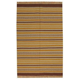 Hand woven Striped Flat Weave Durie Kilim Reversible Wool Rug (310 x