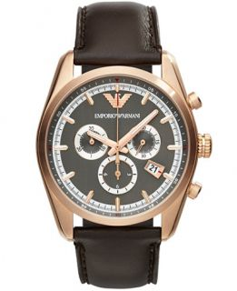 Emporio Armani Unisex Chronograph Brown Leather Strap Watch 43mm