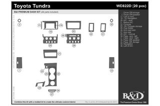 2007 2013 Toyota Tundra Wood Dash Kits   B&I WD822D DCF   B&I Dash Kits