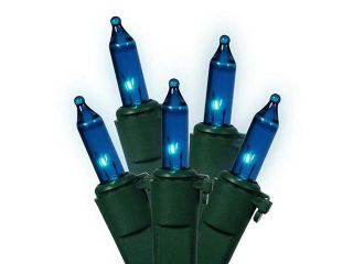 Set of 35 Blue Mini Christmas Lights   Green Wire
