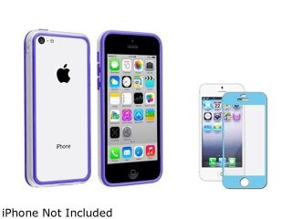 Insten Clear/Blue TPU Rubber Bumper with Blue Color Frame Screen Protector Compatible with Apple iPhone 5C 1475710
