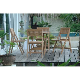 Anderson Teak 24 Windsor 31 Round Picnic Folding Table and 4 Folding Chairs Set