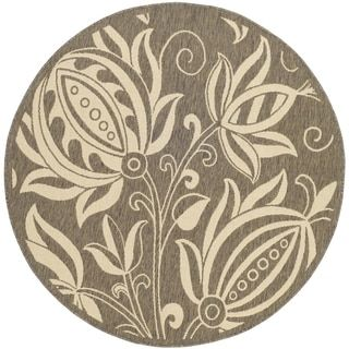 Safavieh Indoor/ Outdoor Courtyard Brown/ Natural Floral Rug (710