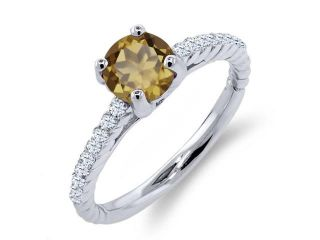 1.47 Ct Round Whiskey Quartz White Created Sapphire 925 Sterling Silver Ring