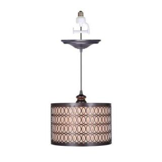 Worth Home Products 1 Light Brushed Bronze Screw In Pendant with Overlay with Linen Drum Shade PBN 6058 0011