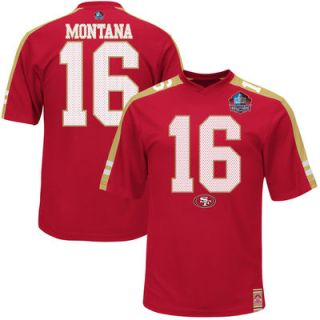 Joe Montana San Francisco 49ers Majestic Hall Of Fame Hashmark Player Name & Number T Shirt   Scarlet