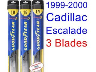 1999 2000 Cadillac Escalade Replacement Wiper Blade Set/Kit (Set of 3 Blades) (Goodyear Wiper Blades Hybrid)
