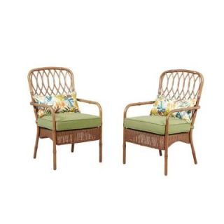 Hampton Bay Clairborne Patio Dining Chair with Moss Cushion (2 Pack) DY11079 D 2