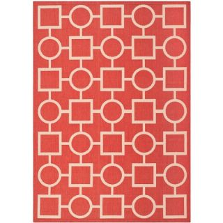Safavieh Indoor/ Outdoor Courtyard Collection Red/ Bone Rug (8 x 11)