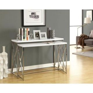Monarch Specialties Glossy White with Chrome Metal Console Table Set (2 Pieces) I 3027