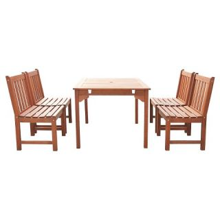 Vifah Malibu Eco friendly 5 Piece Outdoor Hardwood Dining Set with